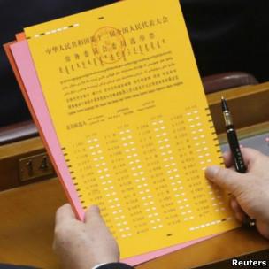 人大代表阅读选票