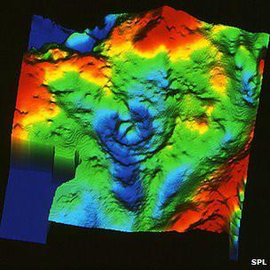 Гравитационная карта кратера Чиксулуб