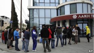 Colas fuera de un banco en Chipre