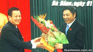 Ông Trần Thọ (trái) và ông Nguyễn Bá Thanh