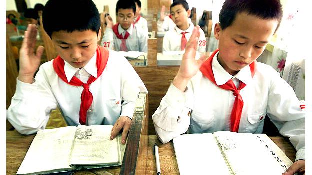 Niños en una escuela en Pyongyang, Corea del Norte