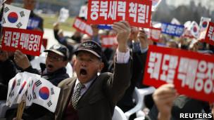 Protestas contra Corea del Norte en Seúl