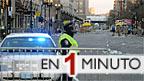 Policía hace guardia cerca de la línea de meta de la maratón de Boston