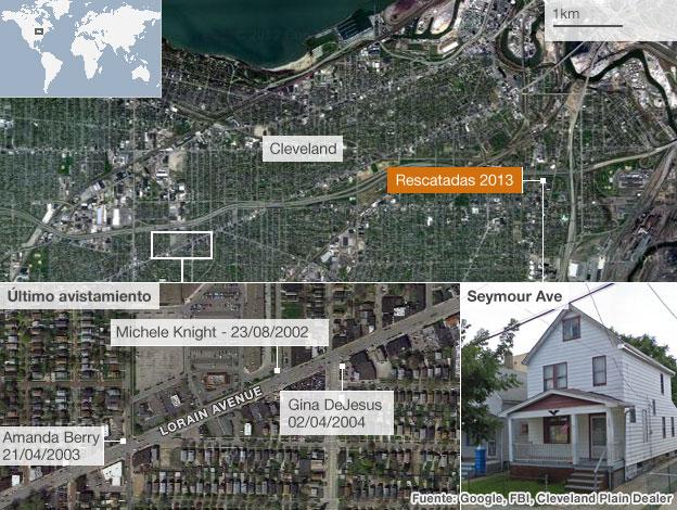 Mapa de los secuestros en Cleveland