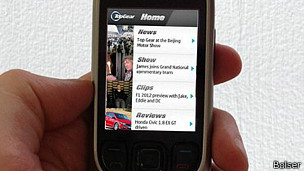 La aplicación de Top Gear en un feature phone