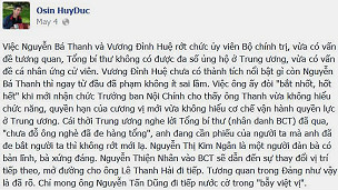Cập nhật trên Facebook của Osin Huy Đức hôm 4/5/2013