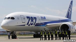 東京羽田機場停機坪上全日空工作人員列隊等候該公司的787客機停泊(28/4/2013)