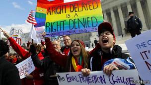 Protestos a favor do casamento gay / Reuters