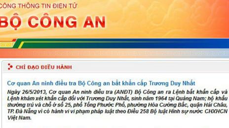 Thông báo trên trang web của Bộ Công an