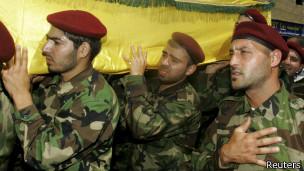 Funeral de combatente do Hezbollah morto na Síria