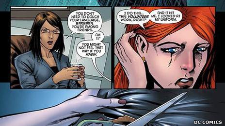 Batgirl con la psicóloga
