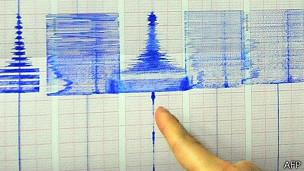 台灣氣象局地震測報中心官員展示南投地震圖表(2/6/2013)