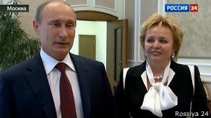 Владимир и Людмила Путины: кадр с телеканала Россия-24