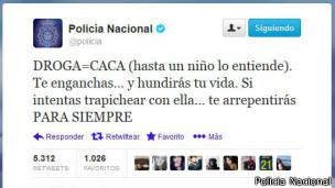 Tuit de la Policía Nacional sobre consumo de drogas