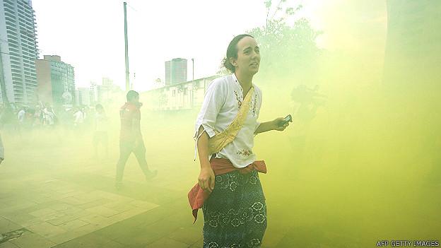 Estudiantes en Sao Paulo en las protestas durante la Copa de Confederaciones.