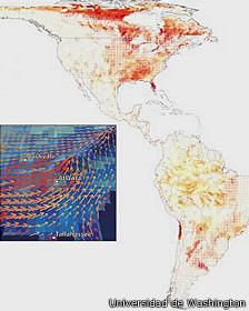 Mapa de rutas migratorias de la Universida de Washington
