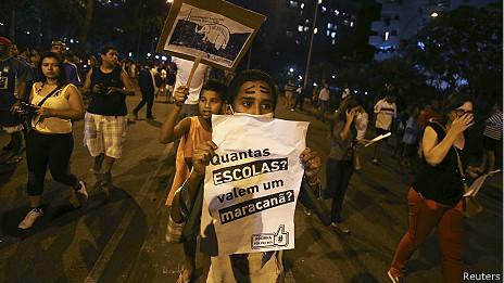 Manifestantes en Brasil
