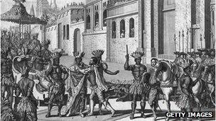 Hernán Cortés se encuentra con el rey de los Aztecas, Moctezuma