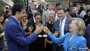 Saakashvili y Hilary Clinton