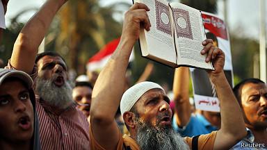 Manifestantes en favor de Morsi en Egipto