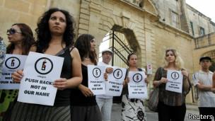 Manifestantes en Malta