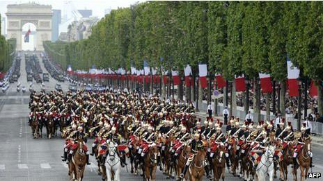 Военный парад 14 июля на Елисейских Полях