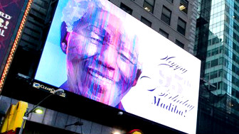 Picha ya Mandela ikipambana ukuta Johannesburg siku yake ya kuzaliwa, 18th July
