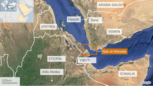Mapa del trayecto de Etiopía a Arabia Saudita