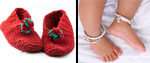 Baby gifts: knitted booties and silver anklets
