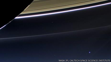 Saturno e a Terra (Nasa)