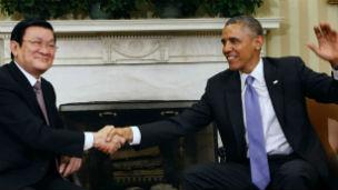 Hai nhà lãnh đạo tỏ ra vui vẻ trong cuộc gặp