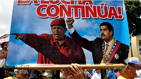 Cartel con Chávez y Maduro