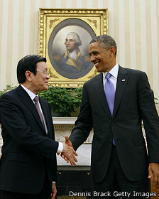 Ông Barack Obama và Trương Tấn Sang ở Nhà Trắng hôm 25/7