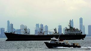 Un barco en la bahía de Panamá