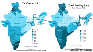 Mapa de acceso a la TV y natalidad en India