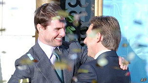 El actor Tom Cruise y el líder de la Cienciología, David Miscavige