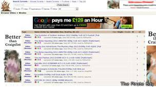 Sitio web del portal The Pirate Bay