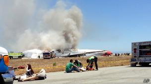 Fotografía del accidente del avión de Asiana
