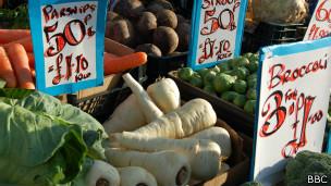 vegetales en un mercado de Londres