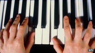Manos sobre las teclas de un piano