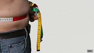 HOmbre obeso mide su cintura