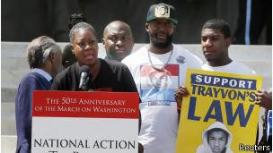 Sabrina Fulton, la mère de Trayvon Martin, le jeune Noir, tué par un vigile, récemment acquitté en Floride.
