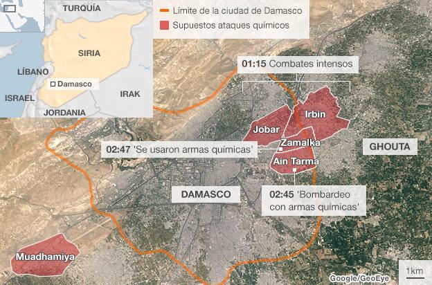 Mapa del supuesto ataque químico