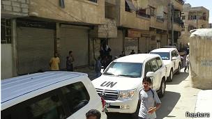 Autos de la ONU en Siria