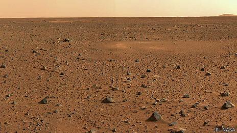 Planeta Marte, na cratera Gustav Holst. Foto: JPL/Nasa