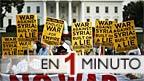 Manifestantes contra intervención en Siria, frente a la Casa Blanca