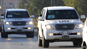 Колонна машин с инспекторами ООН 31 августа 2013 года