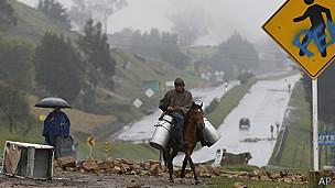 Campesinos colombianos durante el paro agarrio de 2013