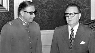 Salvador Allende y Augusto Pinochet. AFP