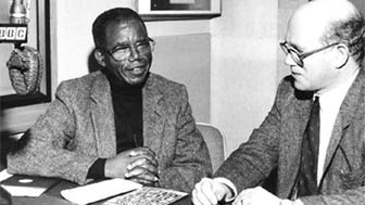 Hamish Norbrook is recording with the Nigerian writer Chinua Achebe in the 1970s.